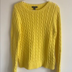 LANDS END CABLE KNIT SWEATER MEDIUM